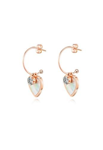 CELOVIS white and gold CELOVIS - Marjorie Mother of Pearl Heart Drop Hoop Earrings DABF1ACDC5ED0DGS_1