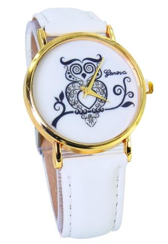World of Watches white Geneva Owl Women's White Leather Strap Watch WO566AC64MHVPH_1