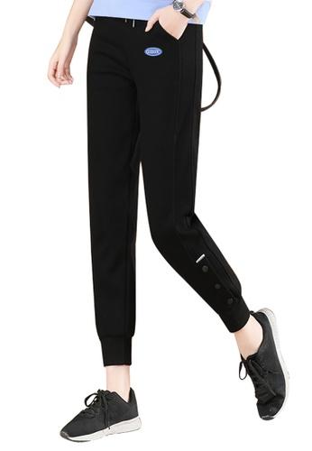 A-IN GIRLS black Elastic Waist Casual Trousers E6EF6AA6C72F4CGS_1