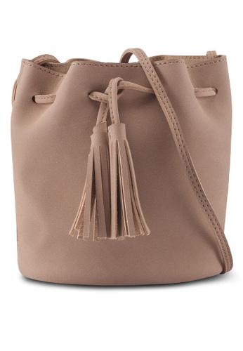 Something Borrowed beige Medium Size Bucket Bag With Tassel Detail 07878AC9BF231BGS_1
