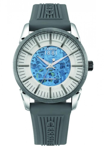 CERRUTI 1881 grey Cool Grey Rubber Strap Silver White & Blue & Transparent Plastic Dial Men Watch CE514AC64QNNMY_1
