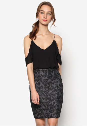 Ellya 印zalora 包包評價花裙擺細肩帶挖肩連身裙, 服飾, 服飾