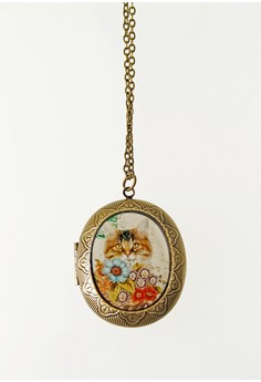 WLN002 Women's Necklace with Cat Print Locket Pendant
