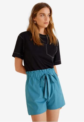 Mango blue Lace Up Cotton Shorts 428EDAA090A682GS_1