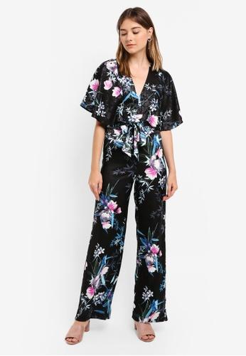 Lipsy black and multi Amelia Print Kimono Sleeve Jumpsuit 224EAAA59DFD08GS_1