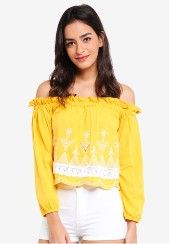 Miss Selfridge yellow Petite Ochre Embroidered Bardot Top 239AEAAD385774GS_1