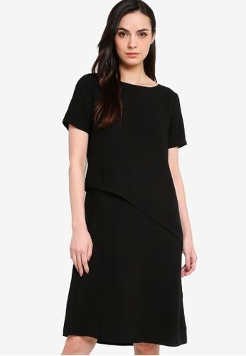 ZALORA WORK black Asymmetric Layered Midi Dress 2AB59AA4AC5430GS_1