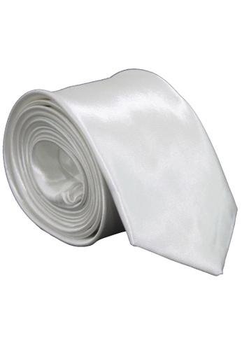 Drum white Classic Plain Slim Tie DR425AC64ZFRMY_1