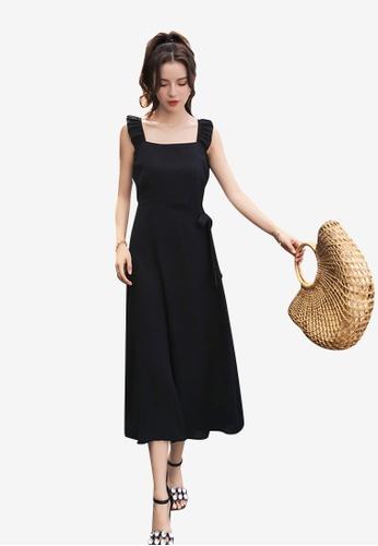 hk-ehunter black Sleeveless Solid Coloured A-Line Split Dress 5CB39AA03223F9GS_1
