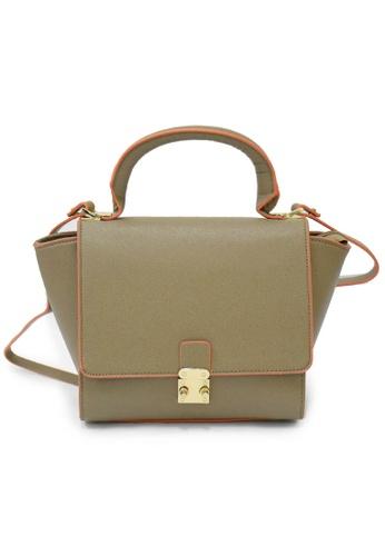 LULUGIFT brown Lulugift Ladies Winged Trapeze PU Leather Handbag Brown LU989AC0T1ALMY_1
