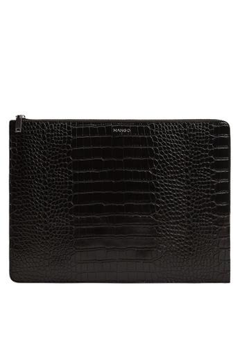 Mango black Croc-Effect Laptop Case C0BA0AC6F1E7D1GS_1