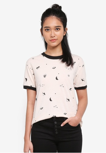 Penshoppe beige Semi Fit Tee With All-Over Print 70725AA68C855CGS_1