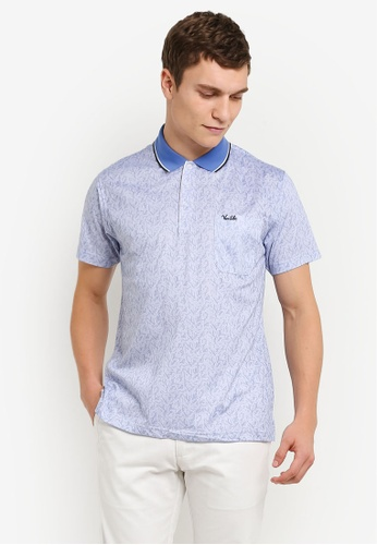 BGM POLO blue Printed Polo Shirt BG646AA0S0KXMY_1
