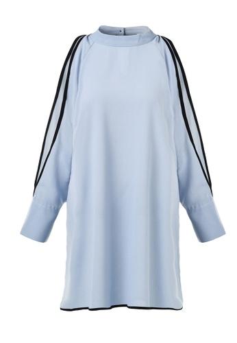 hk-ehunter blue Round Neckline Long Sleeves One piece Dress 6FB52AACAEE178GS_1