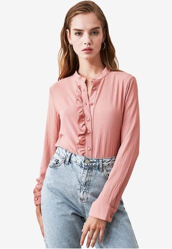 Trendyol pink Ruffle Trim Textured Shirt 32522AA9C856C8GS_1