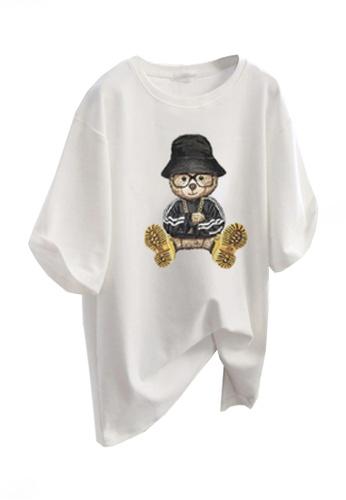 Twenty Eight Shoes white VANSA Fun Bear Loose Short Sleeve T-Shirt VCW-Ts5602 49339AAE14B0CCGS_1