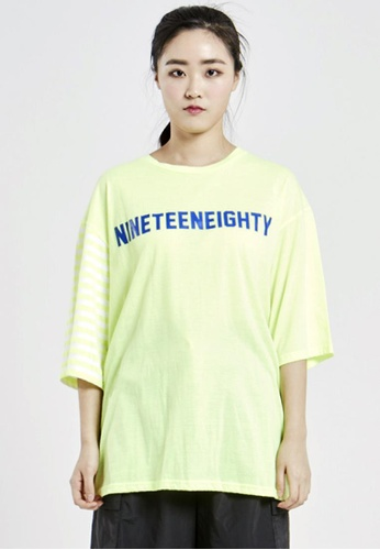 NINETEENEIGHTY white and yellow Over Fit Crew Neck Color Contrast T-shirt NI195AA08XCHSG_1
