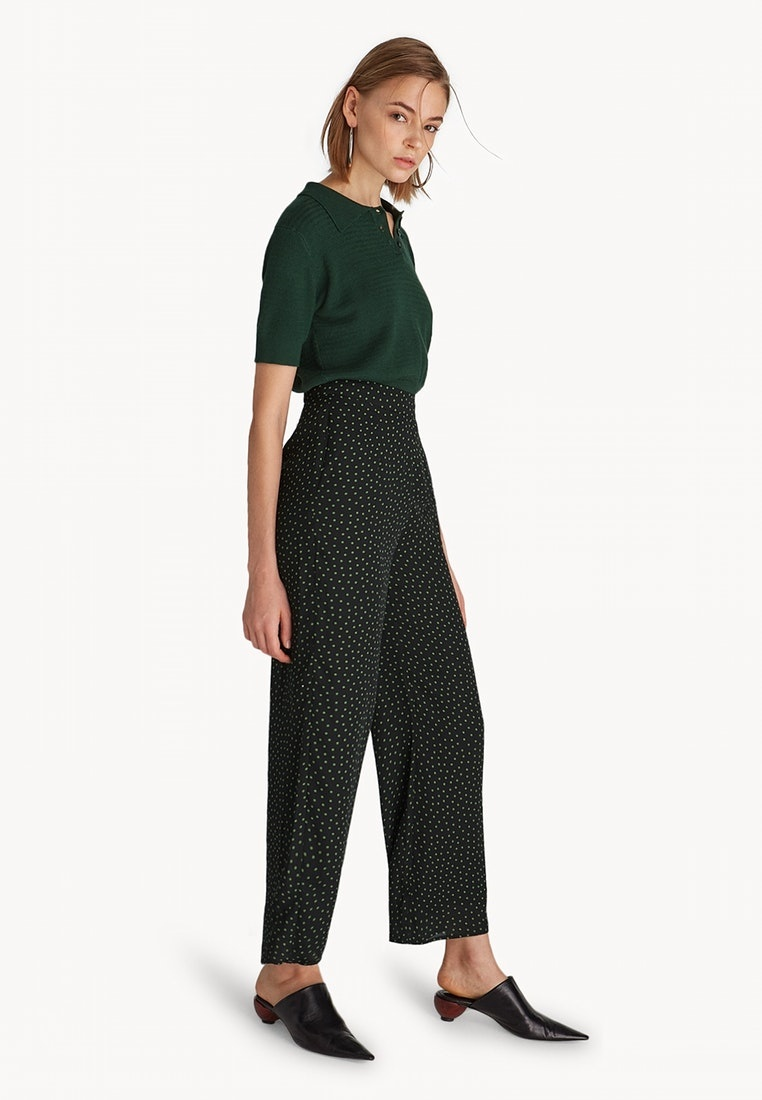 Pomelo Dot Green High Dark Green Waisted Polka Pants SwxSnB4gq
