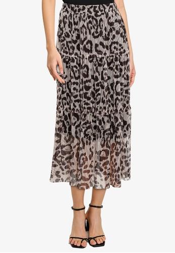 Noisy May beige Shimmy Stripe Long Skirt E6877AAFF630BEGS_1