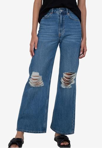 H&M blue Wide High Jeans 687D4AADA33765GS_1
