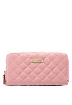 Quilted Design Ladies Double Zip-Up Clutch Wallet