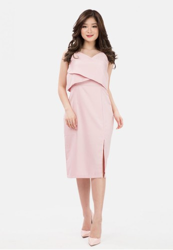 The Pink Label pink Layered Span Mini Dress in Pink 658F8AADA93996GS_1