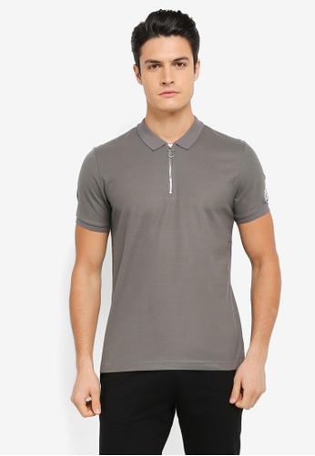 JAXON black Ring Zipper Polo Shirt 44981AAC372F59GS_1
