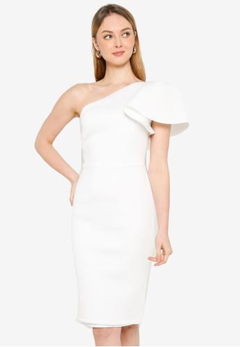 Miss Selfridge white Petite Ivory Ruffle Midi Dress 0D30CAA2D01A91GS_1