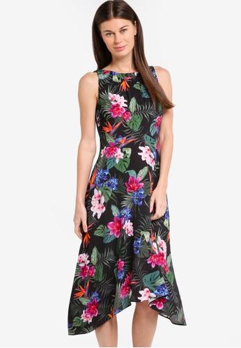 Wallis black Petite Palm Floral Dip Hem Dress WA800AA90OBXMY_1