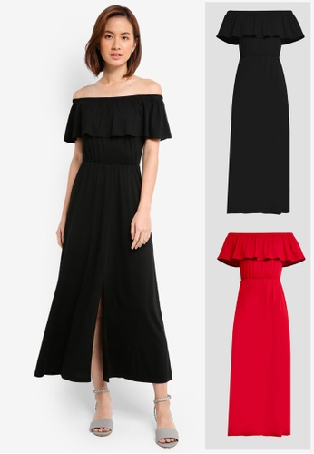 ZALORA black and red 2 Pack Off Shoulder Maxi Dress ZA919AA0IMJJSG_1