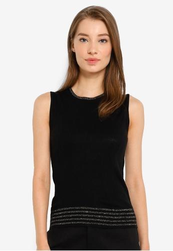 G2000 black Round Neck Sweater With Lurex Trims 73739AA2183754GS_1