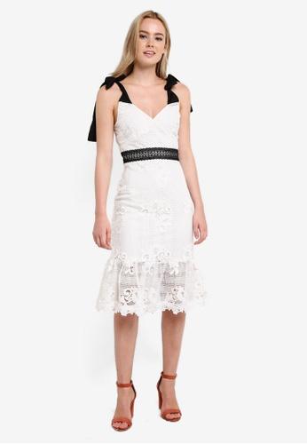 Miss Selfridge white Premium Mono Tie Shoulder Dress MI665AA0RF1UMY_1