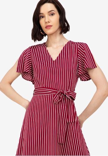ZALORA WORK multi V Neck Split Sleeves Dress 2845BAAC4D94CDGS_1