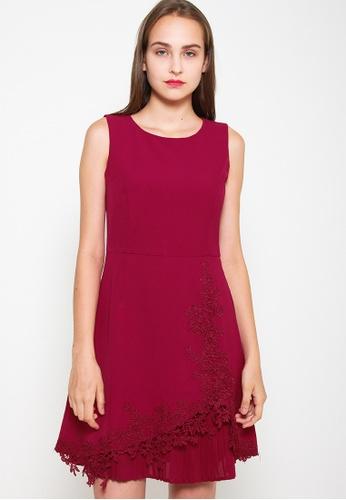 Leline Style red Lia  Pleats Embroidery Dress B3307AA384784EGS_1