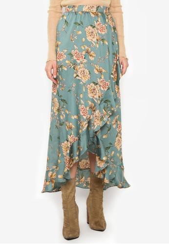 NOBASIC green Floral Printed Ruffled Skirt E0C9DAA060BB55GS_1