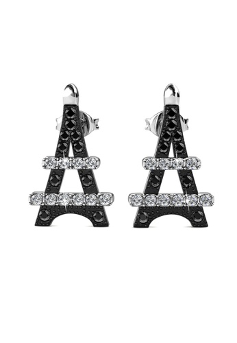 Her Jewellery black Paris Cross Earrings (Black) -  Made with premium grade crystals from Austria HE210AC0H98ASG_1