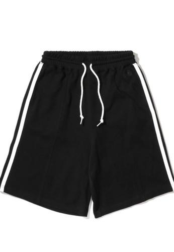 Mini cream black Drawstring taped shorts 24961AA59B15ACGS_1