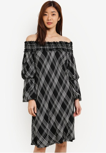 Max Studio black Ladies Woven Smocked Off Shoulder Dress MA703AA0RTMKMY_1