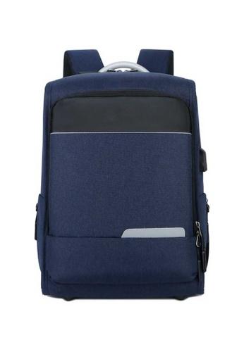 Lara blue Men's Wear-resistant Oxford Cloth Zipper Backpack - Blue 945FDACEC41138GS_1