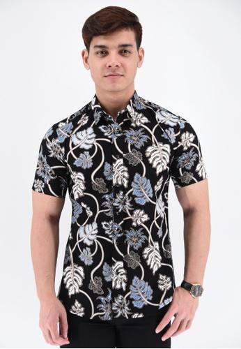 UA BOUTIQUE black Short Sleeve Shirt Batik RBS02-011 (Black/ White) 7FCD1AA4CA4573GS_1
