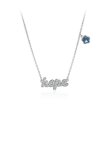Glamorousky white 925 Sterling Silver Fashion Letter Hope and Blue Flower Necklace with Austrian Element Crystal A61C4AC143B3CCGS_1