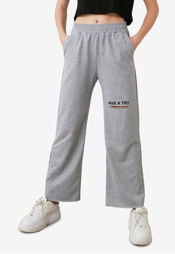 Trendyol grey Embroidered Lettering Sweatpants 98E70AA4AE4A5DGS_1