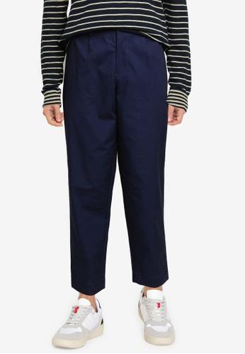 Ben Sherman blue Poplin Relaxed Taper Pleat Trousers 89581AADF4902FGS_1