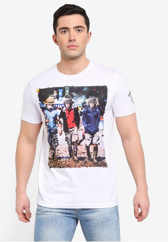 Brave Soul white Doodle T-Shirt with Photographic Burnout Print EB20AAA54692AEGS_1