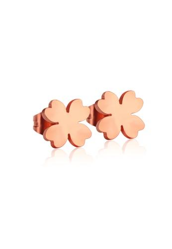 CELOVIS gold CELOVIS - Destiny Four Leaf Clover Stud Earrings in Rose Gold 0C02EAC98EF226GS_1