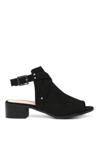 London Rag black Sissy Peep Toe Ankle Strap Sandals 71086SHED1156EGS_1