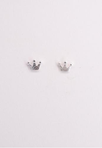Leline Style silver Cute Crown Stud Earrings 94F9AAC05AD327GS_1
