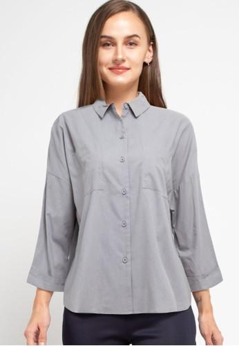 Zumara grey Woman Buttoned Drop Sleeve Blouse 6209EAAD93B2AAGS_1