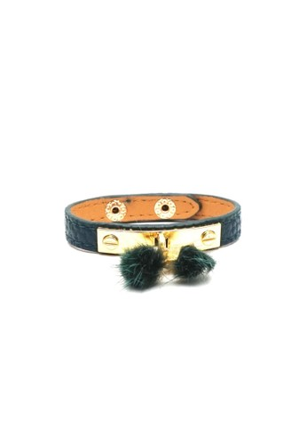 Istana Accessories green Gelang Furry Leather Army Green 4DEC8AC7BAA15AGS_1