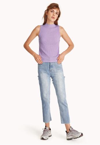 Pomelo purple Knit Mock Neck Sleeveless Top - Lilac 823B6AA95F7ECCGS_1